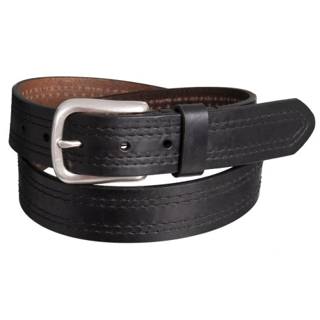 Lejon Embossed Edge Smooth Leather Belt with Buckle (For Men) in Black