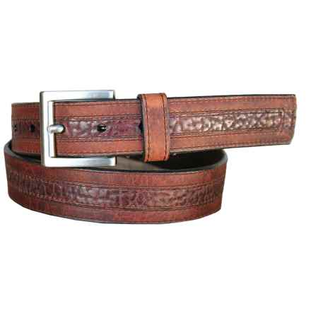 Lejon Genuine Bison Leather Belt (For Men) in Saddle/Peanut - Closeouts