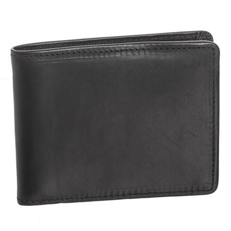 Lejon Horween® Leather Flat Fold Wallet (For Men) in Black