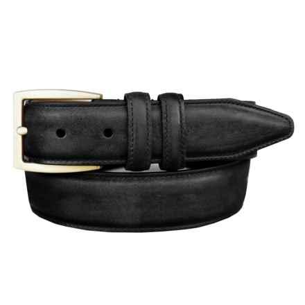 Lejon Oiled-Nubuck Belt - Gold-Tone Buckle (For Men) in Black - Closeouts