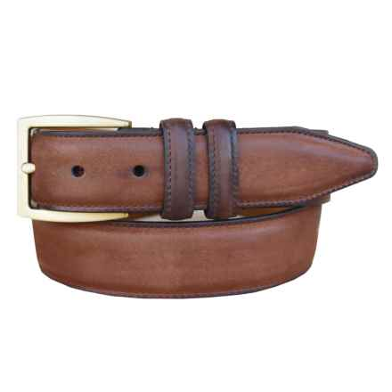 Lejon Oiled-Nubuck Belt - Gold-Tone Buckle (For Men) in Rust - Closeouts