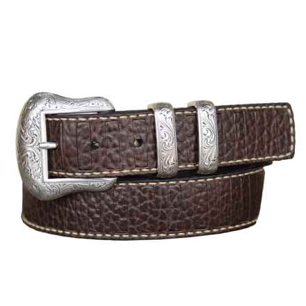 Lejon Pebble-Grained Bison Leather Belt (For Men) in Brown - Closeouts