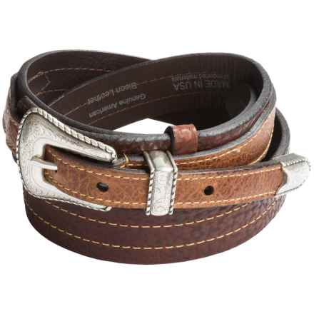 Lejon Pebble-Grained Flat-Edge Belt - Bison Leather (For Men) in Dark Peanut - Closeouts