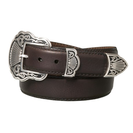 Lejon Smooth Edge Stitched Leather Belt (For Men) in Chocolate