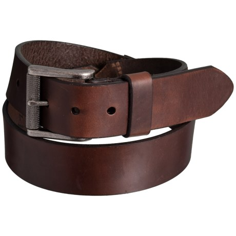 Lejon Smooth Leather Dress Belt with Buckle (For Men) in Brown