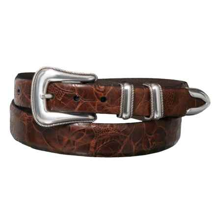 Lejon Snake Belt with Double-Loop Metal Buckle - Leather (For Men) in Cognac - Closeouts