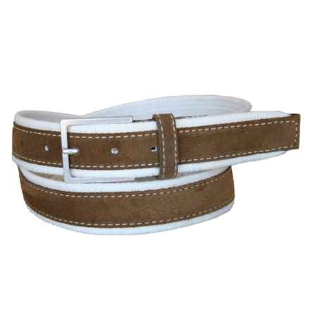 Lejon Suede Overlay Cotton Belt (For Men) in White/Tan - Closeouts