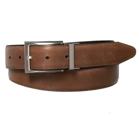 Lejon Washed Leather Belt - Reversible (For Men) in Black/Cognac