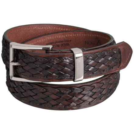 Lejon Woven Stitched Casual Leather Belt (For Men) in Brown - Closeouts