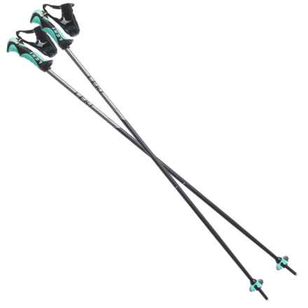 LEKI Balance S Ski Poles - Fixed Length (For Women) in Black/Teal - Closeouts