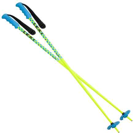 LEKI Checker X Fixed Length Ski Poles in Neon Yellow/Cyan - Closeouts