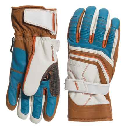 LEKI Fuse Retro S PrimaLoft® Skiing Gloves - Insulated (For Men and Women) in White/Tan/Blue - Closeouts