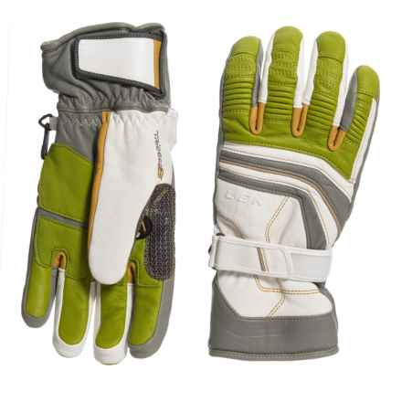 LEKI Fuse Retro S PrimaLoft® Skiing Gloves - Insulated (For Men and Women) in White/Tan/Limee - Closeouts