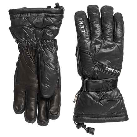 LEKI Mighty S Gore-Tex® PrimaLoft® Ski Gloves - Waterproof, Insulated (For Men and Women) in Black - Closeouts