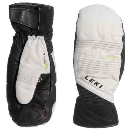 LEKI Platinum S SuperLoft Mittens - Leather, Insulated (For Men and Women) in White/Black - Closeouts