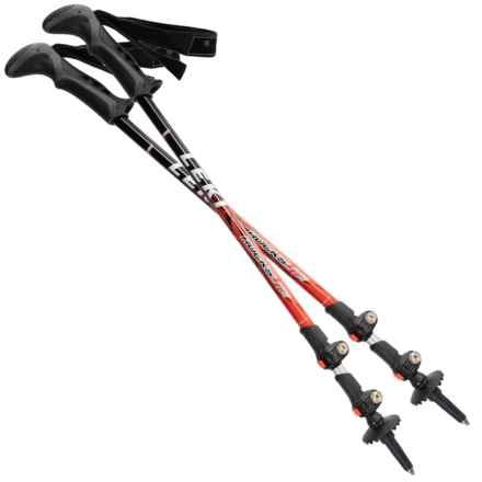 LEKI Rockslite Speed Lock® Trekking Poles - Pair in Black/Red - Closeouts