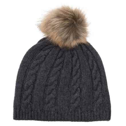 Lemon Fluffy Cable Beanie (For Women) in Blackness - Closeouts