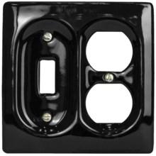 Lenape Le Carrousel Combination Switchplate - Porcelain in Black - Closeouts