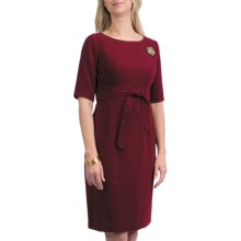 Leslie Fay Crepe Tie Waist Dress - Elbow Sleeve (For Women) in Berry - Closeouts