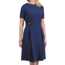 Leslie Fay Gold Button Dress - Short Sleeve (For Women) in Ink - Closeouts