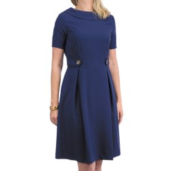 Leslie Fay Gold Button Dress - Short Sleeve (For Women) in Ink