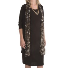 Leslie Fay Matte Jersey Dress - 2-Piece, Chintz Trim, 3/4 Sleeve (For Women) in Brown - Closeouts