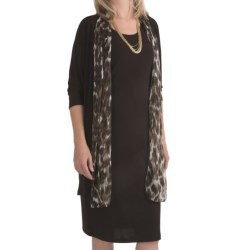 Leslie Fay Matte Jersey Dress - 2-Piece, Chintz Trim, 3/4 Sleeve (For Women) in Brown