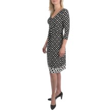 Leslie Fay Matte Jersey Pleated Front Dress - 3/4 Sleeve (For Women) in Black/White - Closeouts