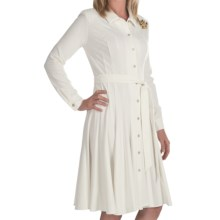 Leslie Fay Ponte Knit Shirt Dress - Long Sleeve (For Women) in Eggshell - Closeouts