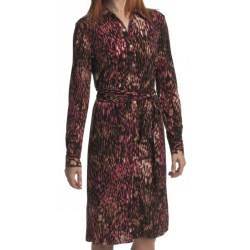 Leslie Fay Shirtwaist Dress - Matte Jersey, Long Sleeve (For Women) in Wine Multi