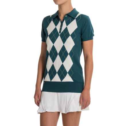 L'Etoile Sport Argyle Polo Shirt - Short Sleeve (For Women) in Petrol/Ivory - Closeouts