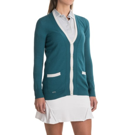 L'Etoile Sport Cashmere Striped Cardigan Sweater (For Women) in Petrol/Ivory