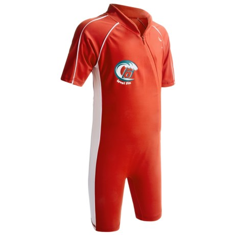 Level Six Apollo Sunsuit - UPF 50+, Elbow Sleeve (For Boys) in Crimson Red/White
