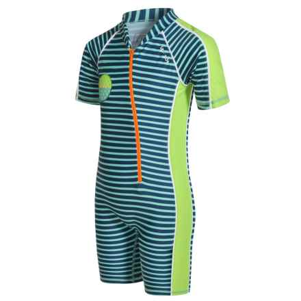 Level Six Apollo Sunsuit - UPF 50+, Elbow Sleeve (For Boys) in Stoneblue Stripe - Closeouts