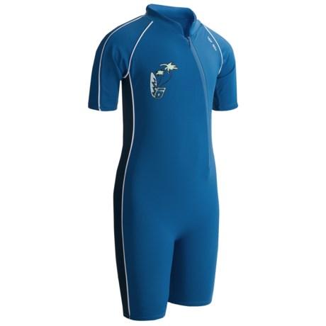 Level Six Apollo Sunsuit - UPF 50+, Elbow Sleeve (For Boys) in Vallarta Blue