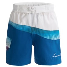 Level Six Askew Surf Shorts (For Girls) in White/Caribbean Blue Fade/Caribbean Blue - Closeouts