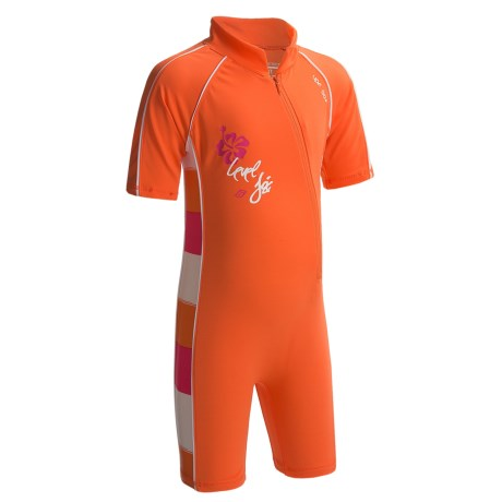 Level Six Aurora Sunsuit - UPF 50+, Elbow Sleeve (For Girls) in Coral/Striped Coral
