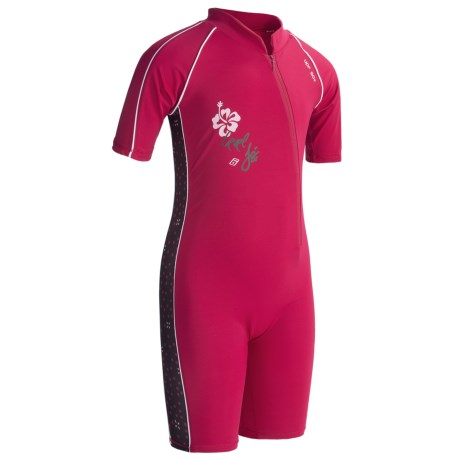 Level Six Aurora Sunsuit - UPF 50+, Elbow Sleeve (For Little Girls) in Cerise
