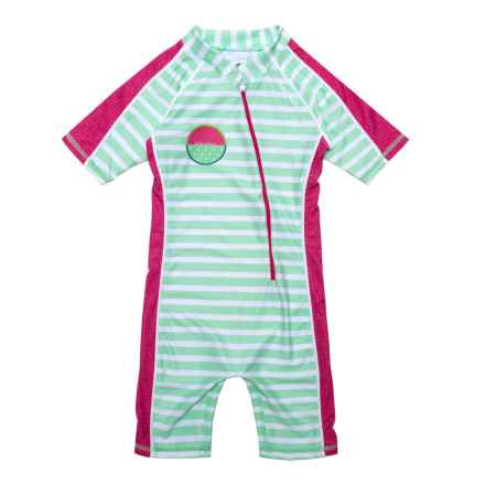 Level Six Aurora Sunsuit - UPF 50+, Elbow Sleeve (For Little Girls) in Mint Stripes - Closeouts