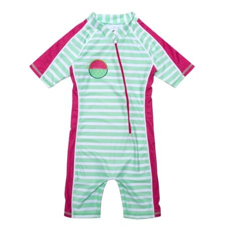 Level Six Aurora Sunsuit - UPF 50+, Elbow Sleeve (For Little Girls) in Mint Stripes
