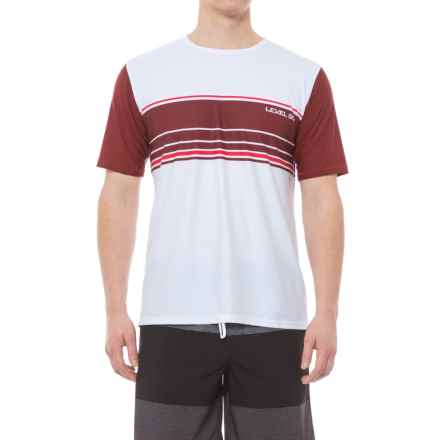 Level Six Coastal Rash Guard Shirt - UPF 50+, Loose Fit, Short Sleeve (For Men) in White/Mahogany - Closeouts