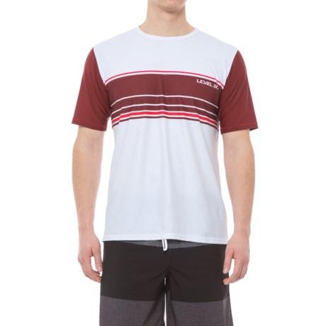Level Six Coastal Rash Guard Shirt - UPF 50+, Loose Fit, Short Sleeve (For Men) in White/Mahogany