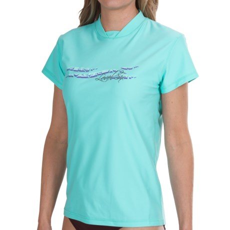 Level Six Coastal Rash Guard Shirt - UPF 50+, Loose Fit, Short Sleeve (For Women) in Aqua Sky