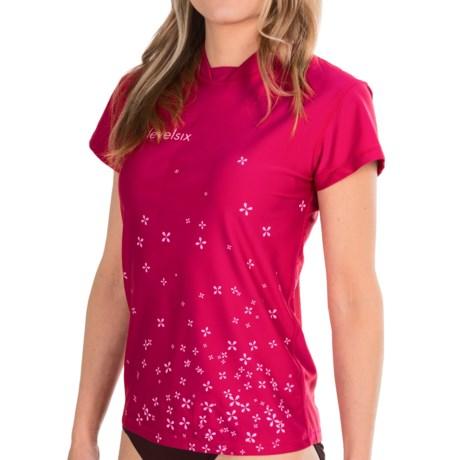 Level Six Coastal Rash Guard Shirt - UPF 50+, Loose Fit, Short Sleeve (For Women) in Cerise