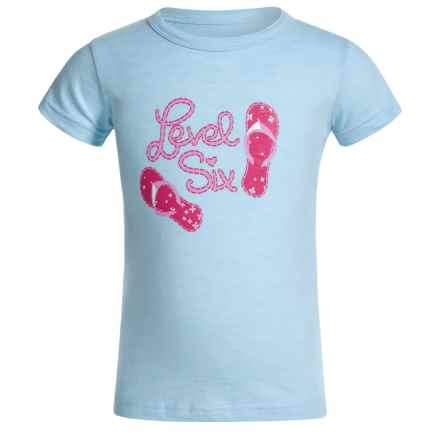 Level Six Flip-Flops T-Shirt - Organic Cotton, Short Sleeve (For Little Girls) in Blue Wind - Closeouts