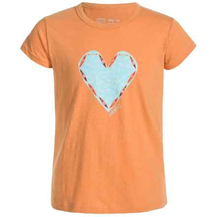 Level Six Kayak Hearts T-Shirt - Organic Cotton, Short Sleeve (For Girls) in Apricot - Closeouts