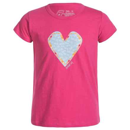 Level Six Kayak Hearts T-Shirt - Organic Cotton, Short Sleeve (For Girls) in Honeysuckle - Closeouts