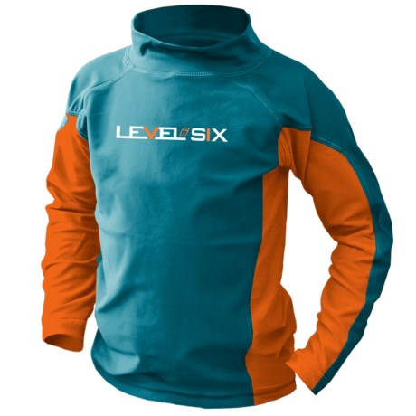 Level Six Slater Rash Guard Shirt - UPF 50+, Long Sleeve (For Boys) in Coastline Blue/Orange