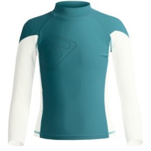 Level Six Slater Rash Guard Shirt - UPF 50+, Long Sleeve (For Boys) in Coastline Blue/White - Closeouts