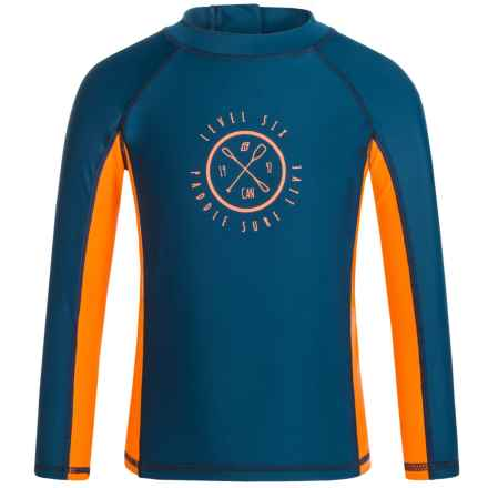 Level Six Slater Rash Guard Shirt - UPF 50+, Long Sleeve (For Boys) in Poseidon - Closeouts
